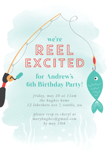Get ready for a swimmingly good time with our Gone Fishing Children's Birthday Party Invitations.