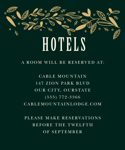 Offer your local recommendations with the gentle touch of fall illustrations on our Autumn Forest Accommodation Cards. A deep green background offers a lovely complement to the gold-foil leaves shining high above, as well as the neat, cream-colored prints that share every detail.