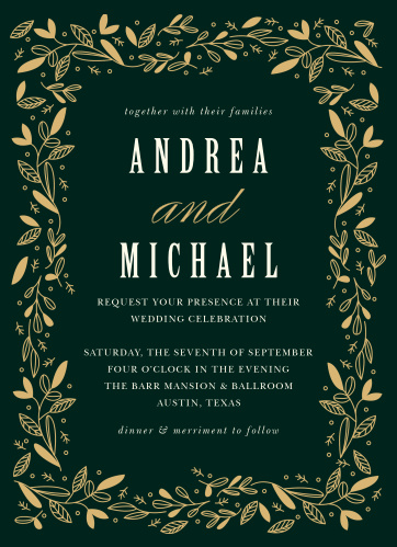 Make your wedding planning a breeze with the leaves-in-the-wind illustrations of our Autumn Forest Wedding Invitations.