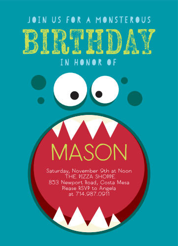 Provide the details of your little one's big party from within the mouth of the monster on our Monster Mash Children's Birthday Party Invitations. A light-green title stands out brightly against the blue of the monster background, announcing the purpose of the occasion before your guests dive into the depths of the monster's maw for the details they need. Bright, colorful, and unforgettably adorable, these cards make sure that all of your child's friends are there to celebrate.