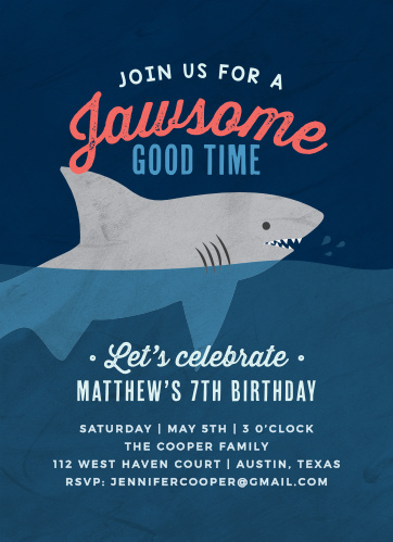 Sink your teeth into the illustrated depths of our Shark Week Children's Birthday Party Invitations. Spell out every single detail of your little one's big day in a trio of white- blue-, and blush-colored typefaces, each riding the waves alongside the shark in the water.