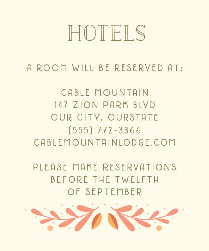 Offer your guests the gift of your own local knowledge on our Rustic Fall Accommodation Cards. Each delicately-written word stands out sharply in pecan-brown against the light cream background, an undeniably rustic color combination only furthered by the wreath of vibrant orange leaves along the bottom. Your guests will certainly appreciate the extra comfort provided by their specially-chosen hotel.