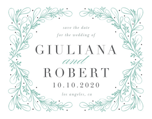 Give your guests the information they need well in advance of your wedding with the endless, magical elegance of our Fairytale Frame Save-the-Date Cards. Arching branches of fairy-green leaves form a loving embrace around every single one of your wedding details, standing out vibrantly alongside the dark-gray lettering of your words. With only the information your guests need for their own preparations and a beautiful design to accompany it, these cards will look lovely in the homes and hands of your loved ones.