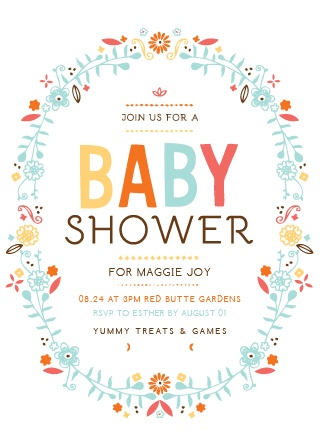 An oval of colorful flowers surround the Baby Wreath Baby Shower Invitations.