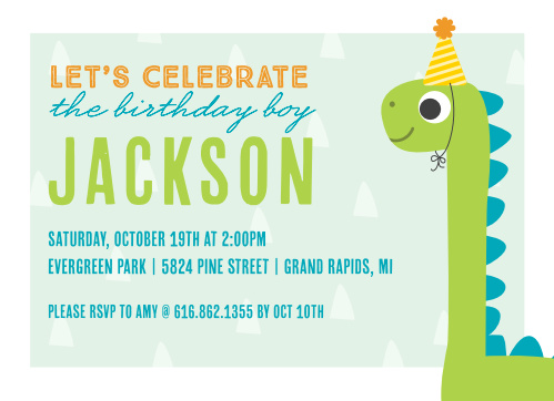 Your child's party is sure to be a real romp with our adorable Dino Party Children's Birthday Party Invitations.
