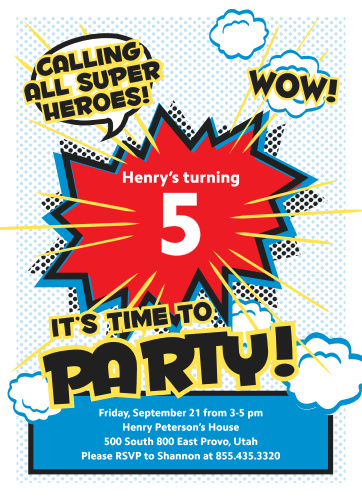 "Celebrate the biggest birthday of their life so far with the exaggerated ""WOW"" and classic comic-book illustrations on our Superhero Party Children's Birthday Party Invitations. Vibrant and colorful, these invitations contain all of the information your little superhero needs to put together their own team- and letting you save the day in the process."