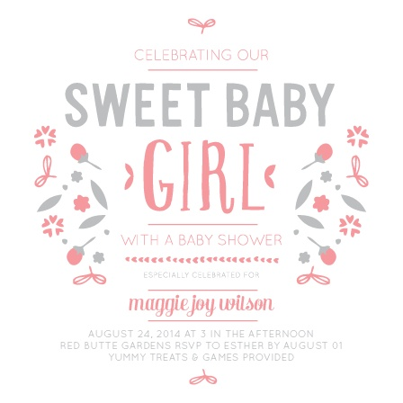 This Sweet Baby Girl baby shower invite is the most adorable way to invite your guests to celebrate your new addition.