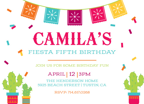 Birthday invitations birthday party invites basic invite fiesta time childrens birthday party invitations filmwisefo