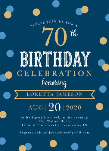 Is it almost time to celebrate that special milestone in you or your loved one's life? Our Golden Confetti Milestone Birthday Party Invitations are here to spread the word!