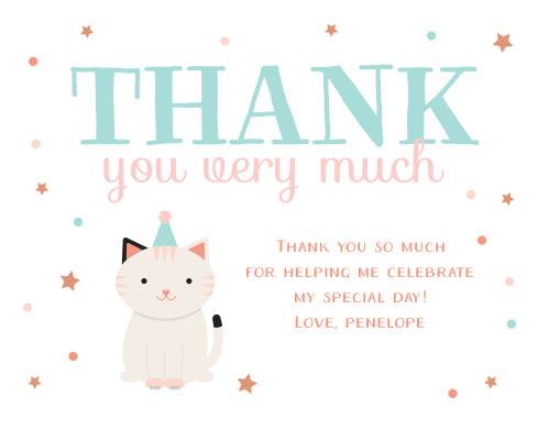 Kitten childrens birthday party invitations match your color purrfect kitten childrens birthday party thank you cards filmwisefo