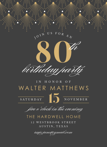 Is it almost time to celebrate that special milestone in you or your loved one's life? Our Vintage Deco Milestone Birthday Party Invitations are here to spread the word!