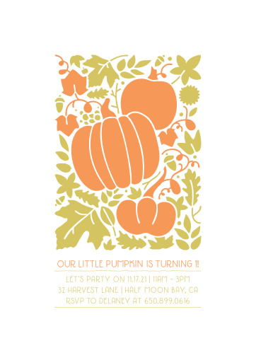 Your guests will fall in love with our Little Pumpkin Children's Birthday Party Invitations.