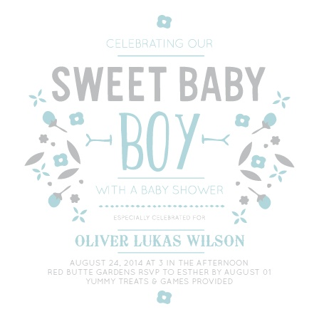 This Sweet Baby Boy is an adorable baby shower invite is the perfect way to get guests excited to celebrate your bun in the oven! It's also 100% customizable!