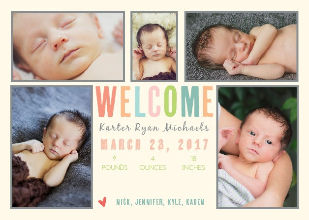 Colorful Collage Birth Announcements