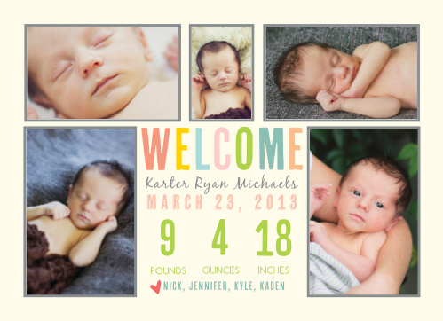 The world can't wait to see the newest addition to your family! Show off your new baby with this Colorful Collage Birth Announcement