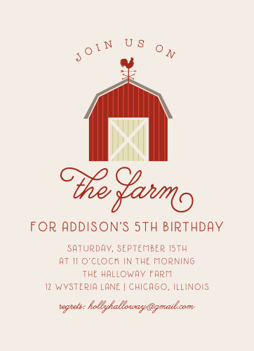 Host a visit to Old MacDonald with the classic styling of our On the Farm Children's Birthday Party Invitations. Deep, rustic-red text spells out every detail of your child's celebration in a mix of elegant calligraphy and simple type. With a larger-than-life barn decorating the center to reinforce your countryside themes, these lovely invitations are perfect for your party preparations.