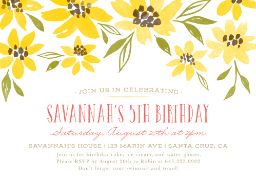 Announce your child's party with our favorite Painted Sunflowers Children's Birthday Party Invitations!