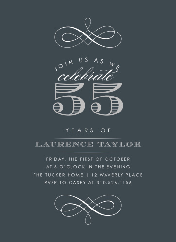 Our Vintage Year Milestone Birthday Party Invitations are a classic, elegant design for your biggest birthday so far. Swirling designs and bold, carefully lettered words spell out every single detail of your celebration, beautiful white text set against a deep-gray background. With a flash of silver-foil to augment the rest of your words, these invitations are a perfect addition to your party preparations.