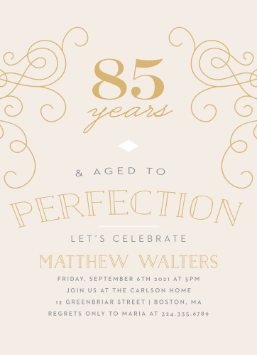 Our Aged to Perfection Milestone Birthday Party Invitations have the vintage elegance you want for your biggest year ever.