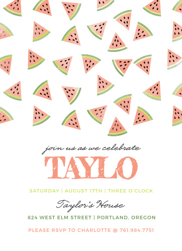 Get everyone ready for the party of the summer with our Watercolor Watermelon Children's Birthday Party Invitations.