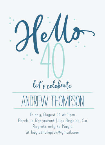 Our Hello Forty Milestone Birthday Party Invitations will have your friends and family excited to welcome your biggest year yet.