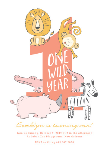 Celebrate your wild one's first birthday with lions, monkeys, alligators and more!