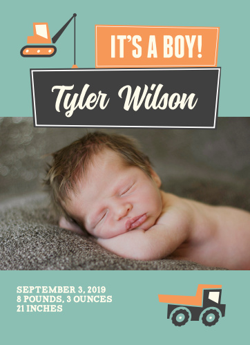 Show off your baby with this playful truck baby announcement!