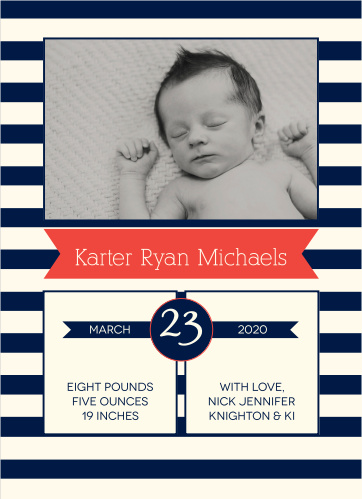 Baby Boy Birth Announcements   Photo and No Photo ...