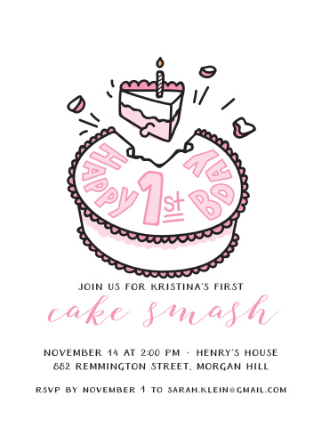 Get your guests ready for a smashing good time with our Cake Smash Birthday Invitations!