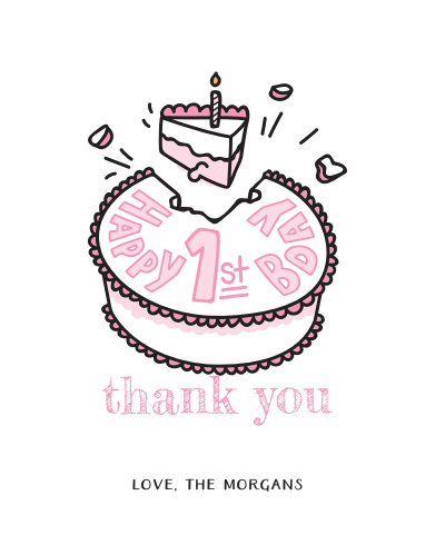 """Send your guests a smashingly sweet """"thank you"""" with our Cake Smash Children's Birthday Party Thank You Cards!"""