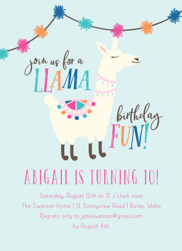 Our A Llama Fun Children's Birthday Party Invitations are the perfect way to get the word out about your special event!