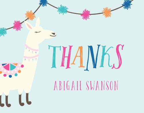 Thank your guests for a llama fun with our A Llama Fun Children's Birthday Party Thank You Cards.