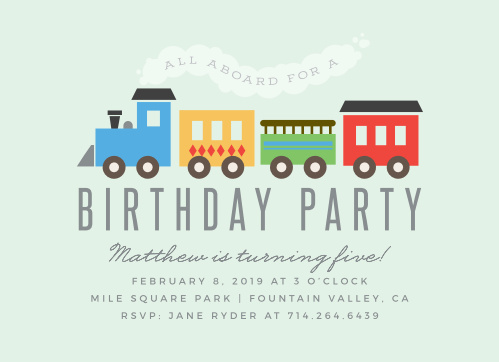 All aboard! Our Steam Train Children's Birthday Party Invitations are perfect for your child's big day!