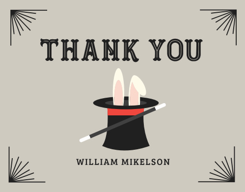 Our Magician Bash Children's Birthday Party Thank You Cards are a great way to show your thanks to your party guests.