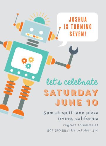 Kids birthday invitations kids birthday party invites basic invite robot celebration childrens birthday party invitations filmwisefo