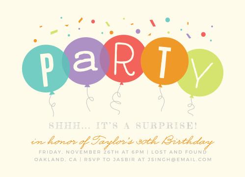 Balloon birthday invitations match your color style free surprise balloons milestone birthday party invitations filmwisefo