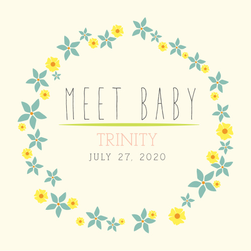 The Flowery Circle Birth Announcement is just what could be just what you're looking for. A totally customizable birth announcement that can't help but be beautiful.