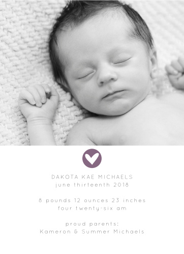 The Stamped with Love Birth Announcement is a clean, sophisticated and classy way to show off your new bundle of joy with loved ones!
