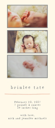 The Photo Tower is a gorgeously simple design  that allows you to be able to show off your new bundle of joy and not distract from your photos with unnecessary design elements.