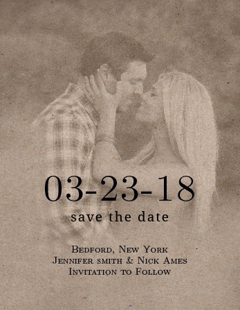 The Vintage Floral Kraft Save the Date Magnet has a vintage feel with a textured brown cardstock overlay.