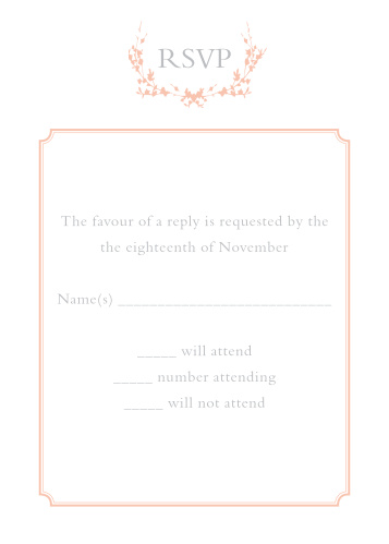 Obtain your guests attendance by sending out this matching RSVP card. Customize the colors and fonts to match you wedding theme exactly!