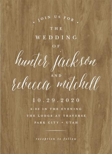 Woodgrain Calligraphy Wedding Invitations