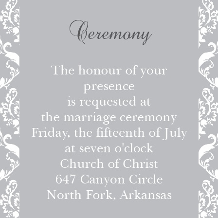 One size fits all ceremony card.