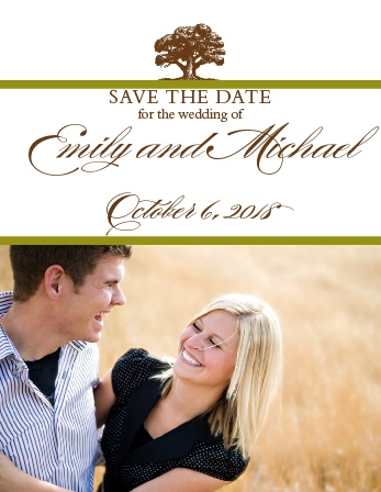 Prepare your guests for your special day and allow them plenty of time to arrange time off and make reservations! With the Majestic Tree Save the Date card, you get a very traditional design as well as room for a photo of the beautiful bride and groom.