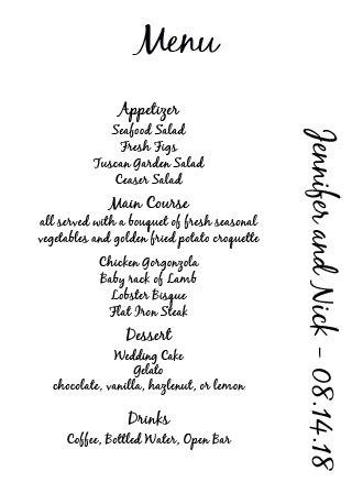 Impress your guests with the simple yet elegant and bold look of The Opaque Photo Flair wedding menu.