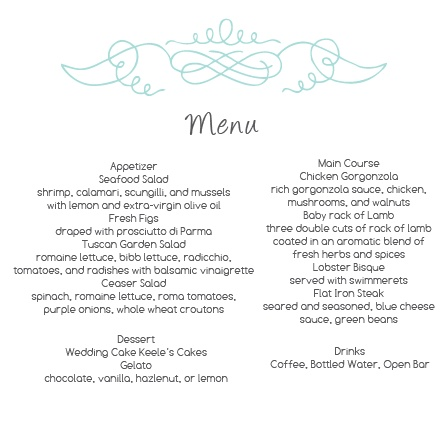 The Vintage Flourish wedding menu with its distinctive and elegant swirl matching the rest of the Vintage Flourish invitation suite perfectly.