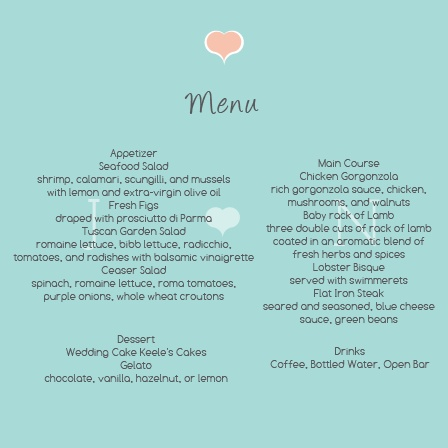 The Water Colors wedding menu with its distinctive look matching the rest of the Water Colors invitation suite perfectly.