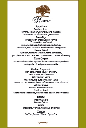 Impress your guests with the simple yet elegant and bold look of The Majestic Tree wedding menu.