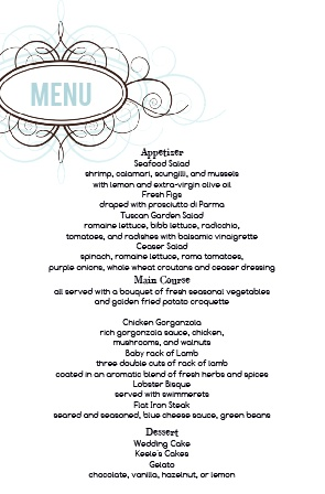 Impress your guests with the simple yet elegant and bold look of The Ornamental Badge wedding menu.