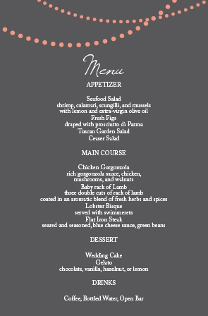 Impress your guests with the simple yet elegant and bold look of The String Lights wedding menu.